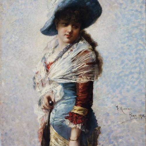 Francesc Masriera - Portrait of a Woman with a Shawl, a Hat and a Parasol - 1878
