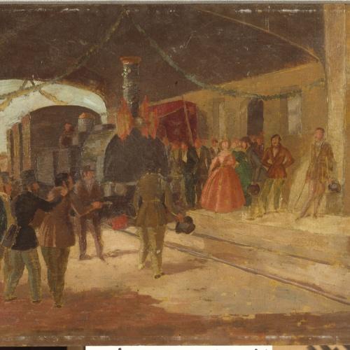Xavier Nogués - Arribada a Mataró del primer ferrocarril d'Espanya - Cap a 1928-1929