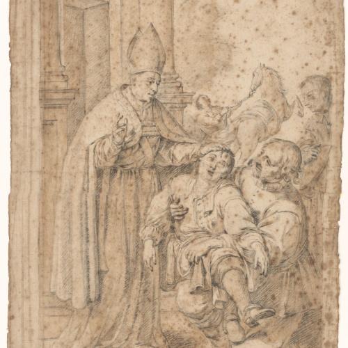 Antoni Viladomat - Saint Olegarius Healing a Boy - Circa 1730-1740