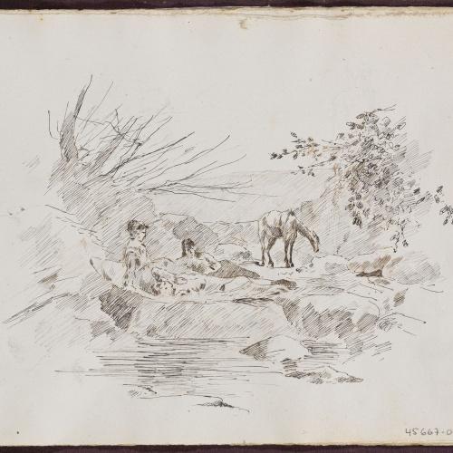 Alexandre de Riquer - Paisatge amb figures descansant - 1878