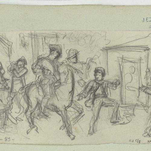 Marià Fortuny - Scene of a police charge - Circa 1856-1858