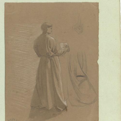Marià Fortuny - Estudio académico de figura masculina y de vestimenta - Hacia 1856-1858