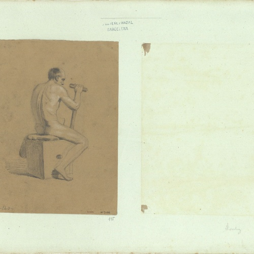 Marià Fortuny - Academic study of a male nude - Circa 1856-1858