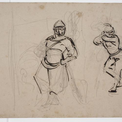 Marià Fortuny - Boceto de figuras medievales - Hacia 1856-1858