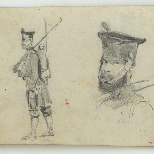 Marià Fortuny - Estudis de soldat espanyol - Cap a 1860-1862