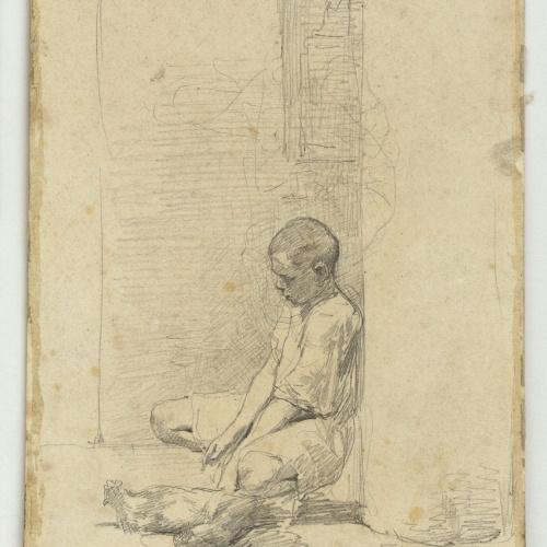 Marià Fortuny - Jove amb gallines - Cap a 1860-1862