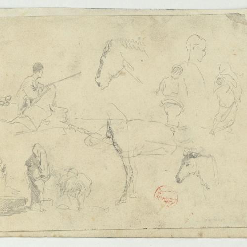 Marià Fortuny - Marroquins i estudi de cavall (anvers) / Marroquins (revers) - Cap a 1860-1862