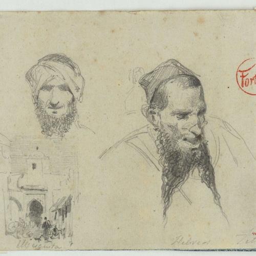 Marià Fortuny - Caps d'hebreus i mesquita - Cap a 1860-1862