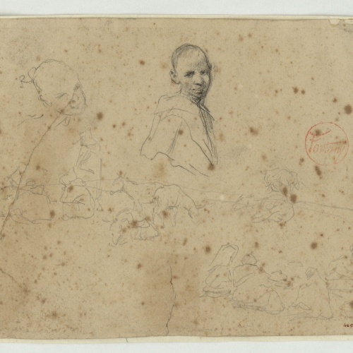 Marià Fortuny - Preliminary drawing of Moroccans and animals - Circa 1860-1862