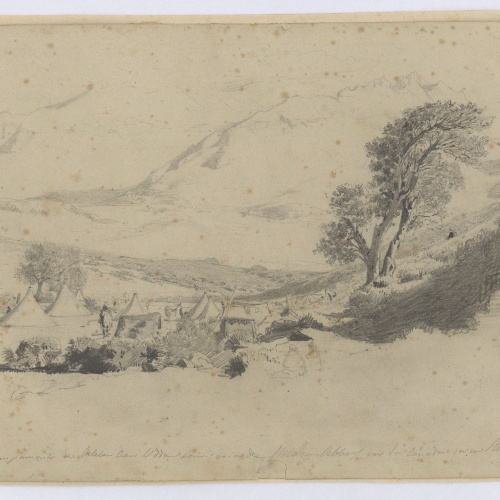 Marià Fortuny - Campamento de Aleber Alvi Udda en la cañada cerca Samsa (The camp of Aleber Alvi Udda in the ravine near Samsa) - 1860