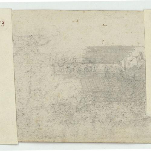 Marià Fortuny - Fanal d'estil musulmà i marroquins (anvers) / Croquis inconcret (revers) - Cap a 1860-1862 [1]