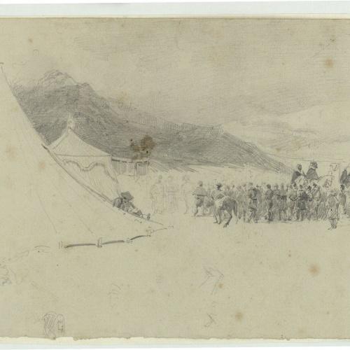 Marià Fortuny - Campament marroquí amb soldats espanyols - Cap a 1860-1862