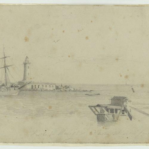 Marià Fortuny - Puerto de Málaga. Restos del vapor Génova - 1860