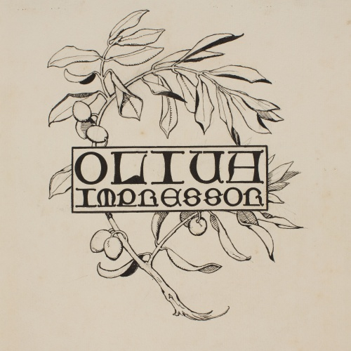 Apel·les Mestres - Composition of the name 'Oliva printers' and an olive branch. Illustration for Apel•les Mestres's poem 'Liliana' - 1907