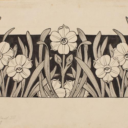 Apel·les Mestres - Nadales. Capçalera de pàgina per al poema «Liliana» d'Apel·les Mestres - 1904