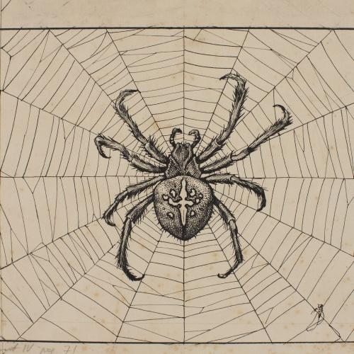 Apel·les Mestres - Aranya teixint la teranyina. Capçalera de pàgina per al poema «Liliana» d'Apel·les Mestres - 1905-1906