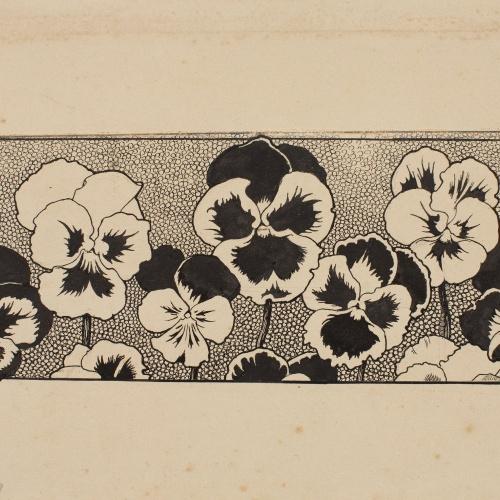 Apel·les Mestres - Sanefa amb pensaments. Capçalera de pàgina per al poema «Liliana» d'Apel·les Mestres - 1905