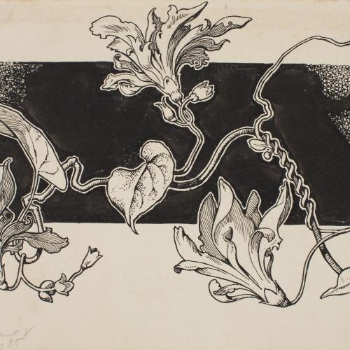 Apel·les Mestres - Tres lliris. Capçalera de pàgina per al poema «Liliana» d'Apel·les Mestres - 1906