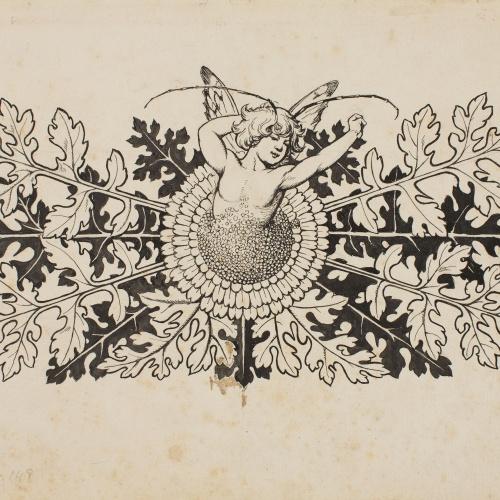 Apel·les Mestres - Silf sortint d'una flor. Capçalera de pàgina per al poema «Liliana» d'Apel·les Mestres - Cap a 1907