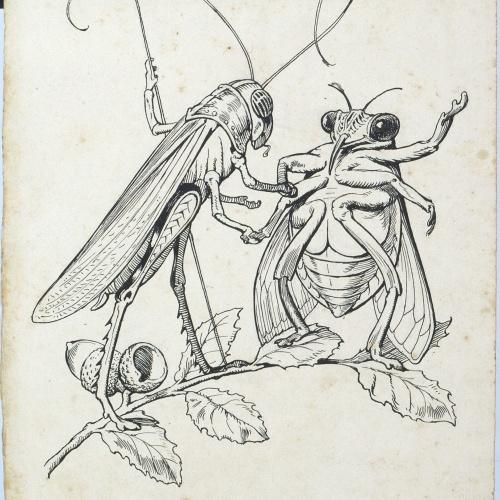 Apel·les Mestres - Pregadéu i abellot conversant damunt una branca. Il·lustració per al poema «Liliana» d'Apel·les Mestres - Cap a 1907