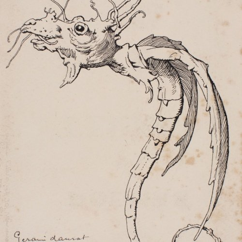 Apel·les Mestres - Geranium plant transmuted as a chimeric animal. Tailpiece for Apel·les Mestres's poem 'Liliana' - 1906