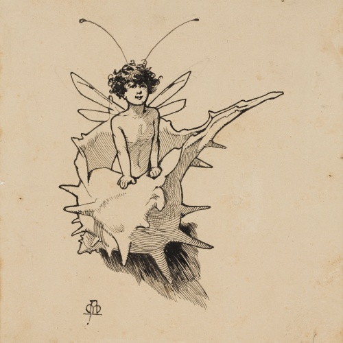 Apel·les Mestres - Sylph emerging from inside a sea snail. Tailpiece for Apel·les Mestres's poem 'Liliana' - 1888