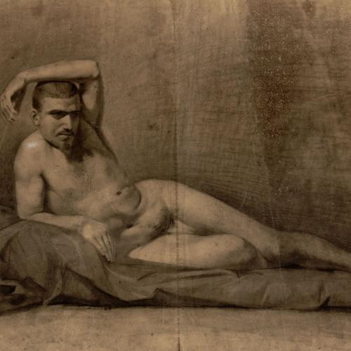 Marià Fortuny - Estudi acadèmic de nu masculí (anvers) / Figures assegudes en un banc (revers) - Cap a 1858-1860