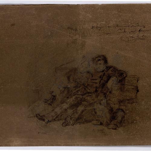 Marià Fortuny - Estudi acadèmic de nu masculí (anvers) / Figures assegudes en un banc (revers) - Cap a 1858-1860 [1]
