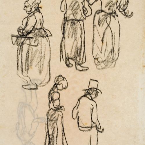 Isidre Nonell - Apunt de figures (anvers) / Apunt de figures (revers) - Cap a 1911