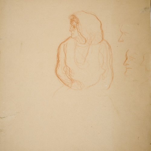 Isidre Nonell - Bust de dona (anvers) / Nu femení (revers) - Cap a 1906-1911