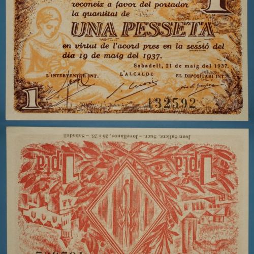Ajuntament de Sabadell - 1 pesseta - 21.05.1937