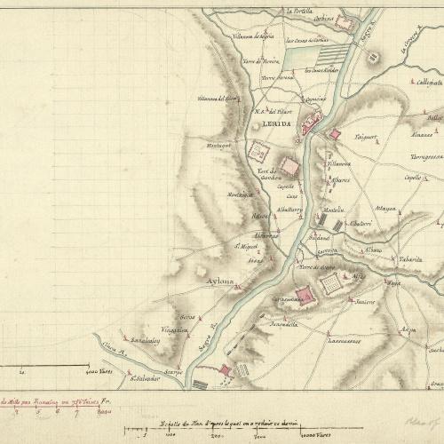 Anònim - Plànol de la campanya de Juli Cèsar als voltants de Lleida - Cap a 1801-1803