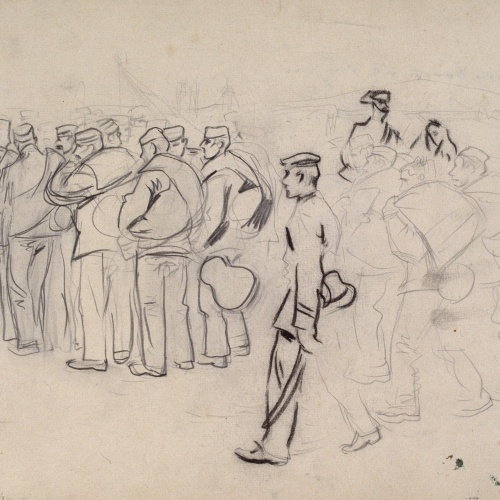 Ramon Casas - Study for the picture 'Troops Embarking' - Circa 1896