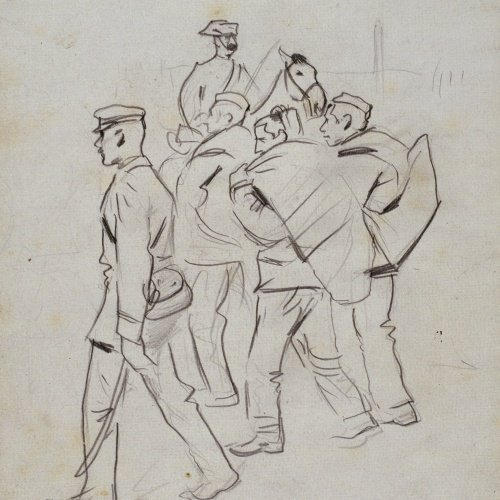 Ramon Casas - The recruits. Study for the picture 'Troops Embarking' - 1896