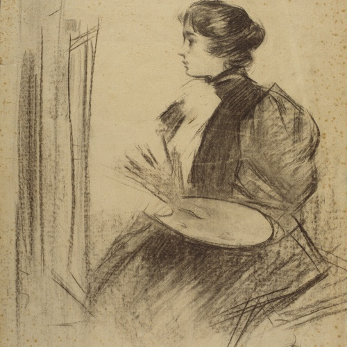 Ramon Casas - Femme peintre. Study for the poster 'Dr. Fr. Schoenfeld & Cº' - Circa 1893