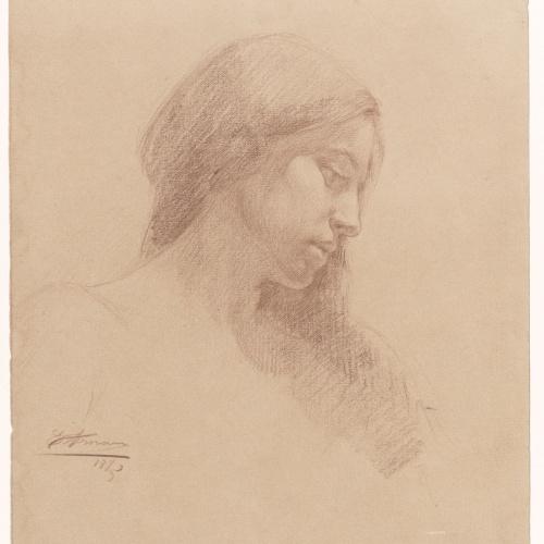 Eusebi Arnau - Study of a female head in profile - 1895