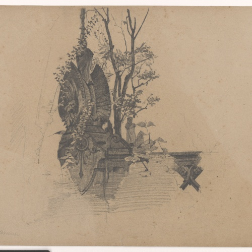 Eusebi Arnau - Study of the balustrade surrounding the monument to Aribau - 1885