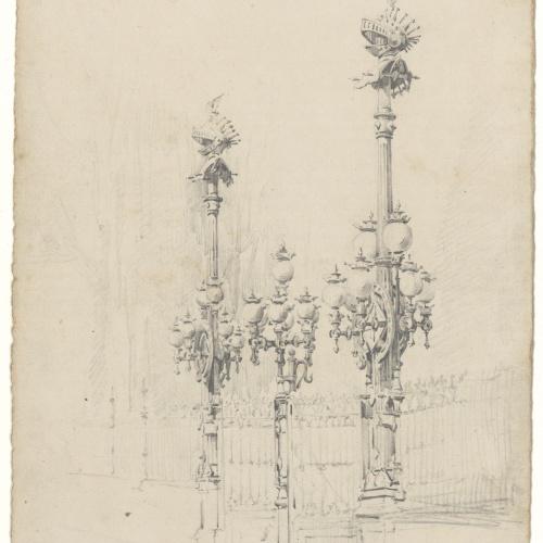 Eusebi Arnau - Study of the lamps at the entrance to the Parc de la Ciutadella - 1885