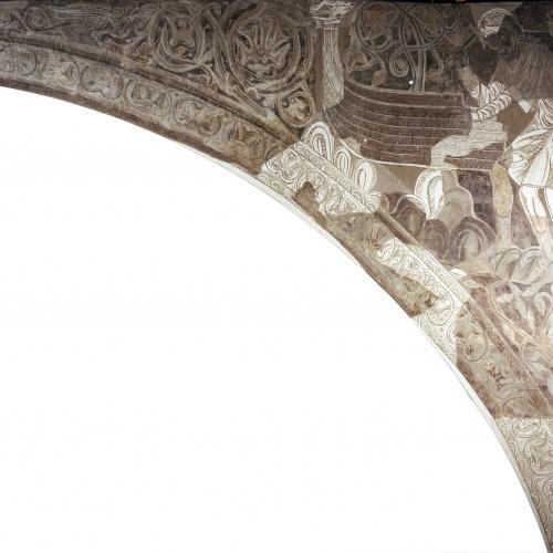Mestre de la sala capitular de Sixena - Noè construeix l'arca, de la sala capitular de Sixena - Entre 1196-1208