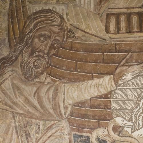 Mestre de la sala capitular de Sixena - Noè fa entrar els animals a l'arca, de la sala capitular de Sixena - Entre 1196-1208 [1]