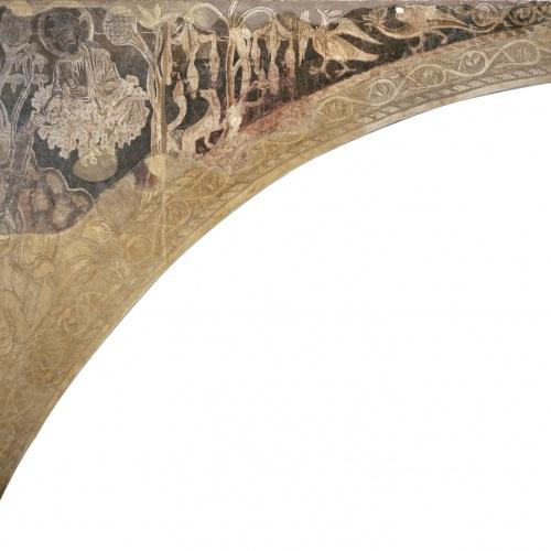 Mestre de la sala capitular de Sixena - Moisès rep les taules de la Llei, de la sala capitular de Sixena - Entre 1196-1208