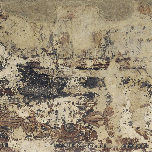 Anònim. Aragó - Combat naval entre una galera cristiana i una de sarraïna, pintures profanes de Sixena  - Cap a 1200