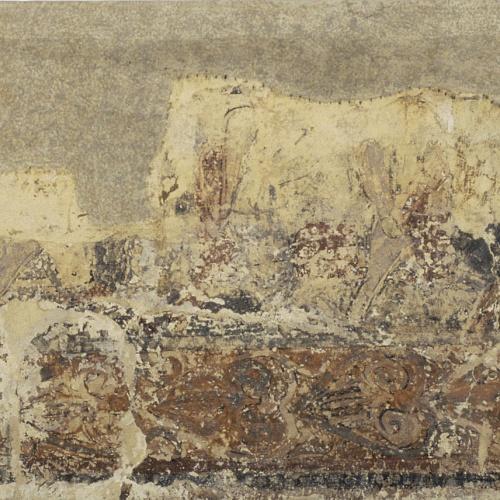 Anònim. Aragó - Pintures profanes de Sixena: Cavallers que surten d'un castell cap a la batalla - Cap a 1200