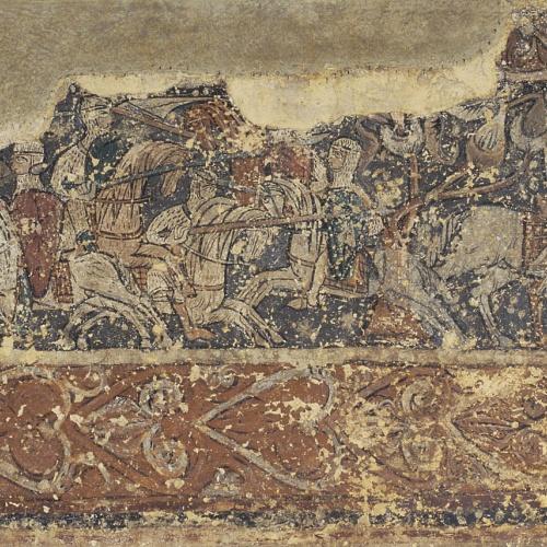 Anònim. Aragó - Pintures profanes de Sixena: Soldats defensant un castell i cavalcada de cavallers - Cap a 1200
