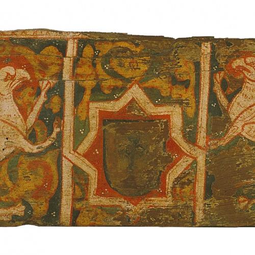 Anònim. Catalunya - Taula d'enteixinat amb escut i grius rampants - Finals del segle XIII