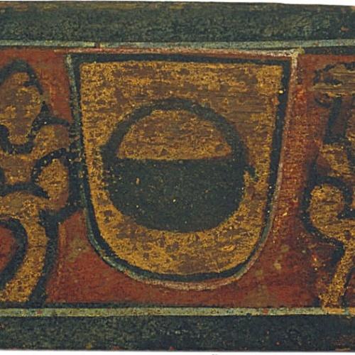 Anònim. Catalunya - Tauleta d'enteixinat amb l'escut dels Caldes - Finals del segle XIII
