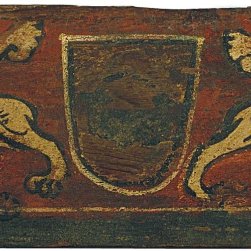 Anònim. Catalunya - Tauleta d'enteixinat amb escut i mantícores - Finals del segle XIII
