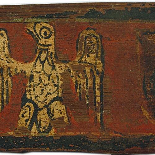 Anònim. Catalunya - Tauleta d'enteixinat amb àguila entre escuts dels Caldes i motius vegetals - Finals del segle XIII