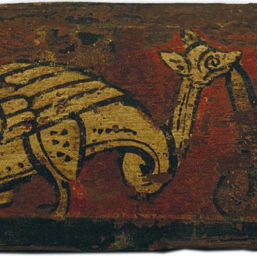 Anònim. Catalunya - Tauleta d'enteixinat amb animal fantàstic devorant motius vegetals - Finals del segle XIII