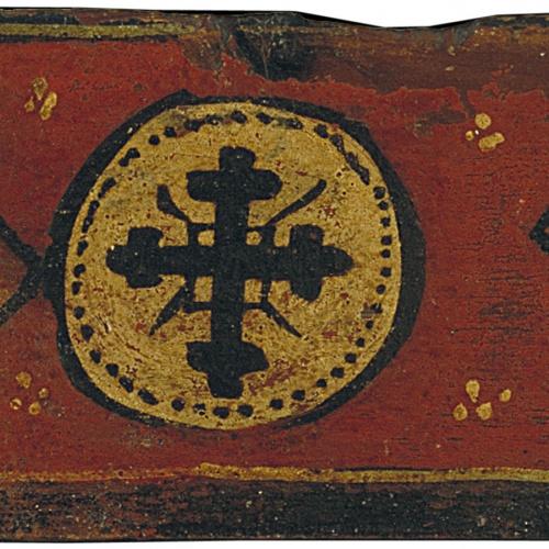 Anònim. Catalunya - Tauleta d'enteixinat amb creu i escuts en losange - Finals del segle XIII